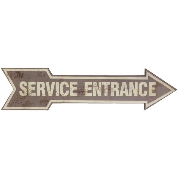 Tan Wood Arrow Service Entrance Sign