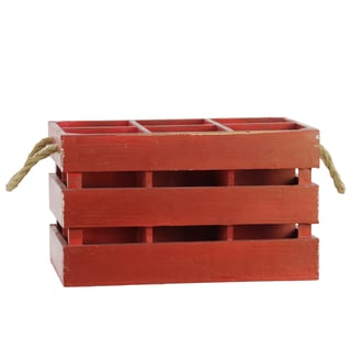 Red Wood Wine Rack with 6 Slots and Rope Handles