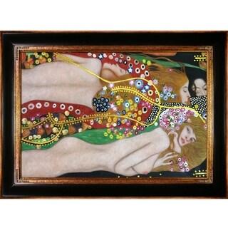 Gustav Klimt 'Water Serpents II' Hand Painted Framed Canvas Art