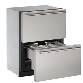 U-Line 3000 Series 3024 - 24 Inch Stainless Steel Refrigerator Drawers