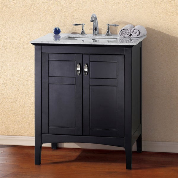 White Marble  Inch Single Sink Espresso Vanity  Overstock Com Shopping Great