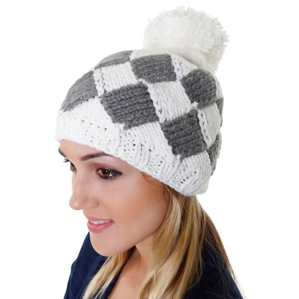 Hadari Women's Casual Knit Diamond Beanie