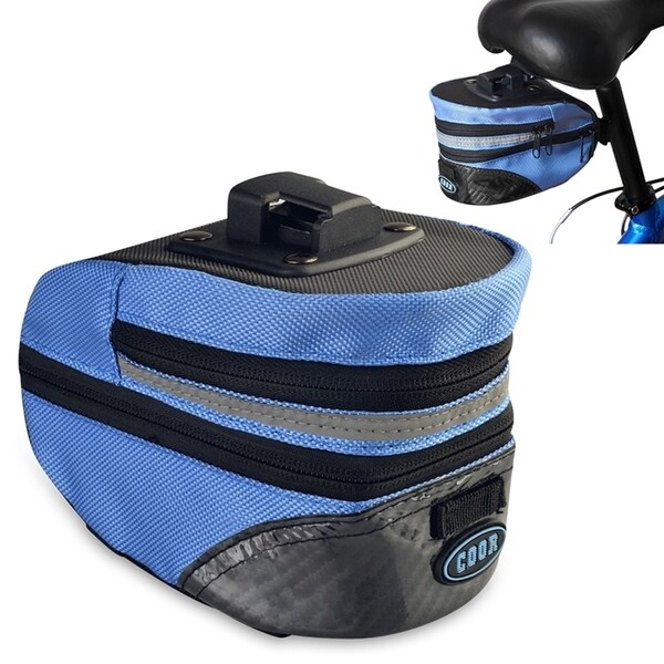 INSTEN Blue PVC Polyester Sports Exercise Bicycle Zipper Saddle Seat Bag With Mount Tools