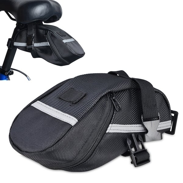 INSTEN Black Nylon Water Resistant Sports Exercise Bicycle Zipper Saddle Seat Bag