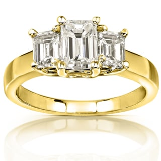 Annello 14k Yellow Gold 1 5/8ct CTW Emerald-cut Moissanite Three-stone Engagement Ring