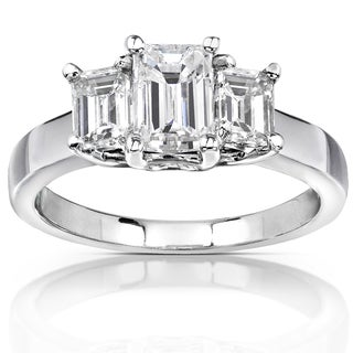 Annello 14k White Gold 1 5/8ct Emerald-cut Moissanite Three-Stone Engagement Ring