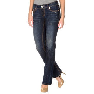 Seven7 Women's Contemporary Tri-Tonal Stitch Distressed Bootcut Denim Jeans