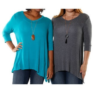 Hadari Women's Plus Teal and Charcoal V-neck Blouse (Set of 2)