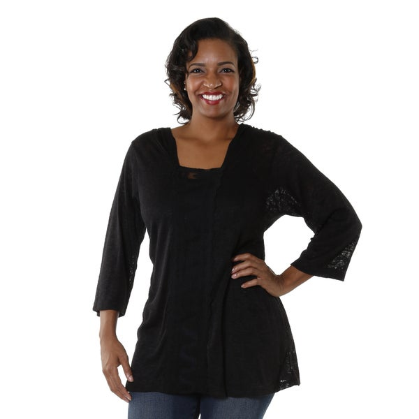 Hadari Women's Plus Black Knitted Hoodie Top