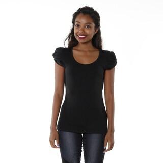 Hadari Women's Black Ruffle Sleeve Top