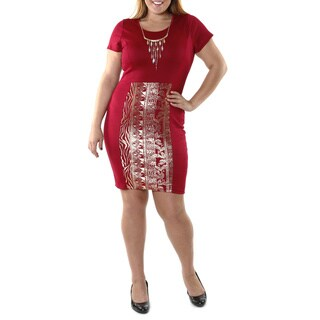 Hadari Women's Plus Red Tribal Print Dress