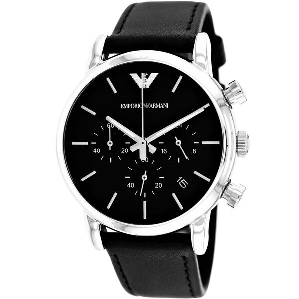 Armani Men's AR1733 Classic Round Black Strap Watch