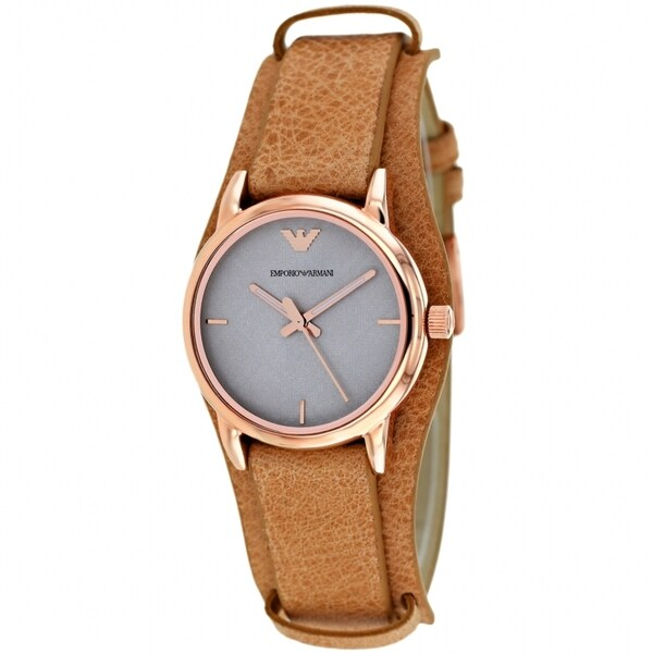 Armani Women's AR1835 Classic Round Brown Strap Watch