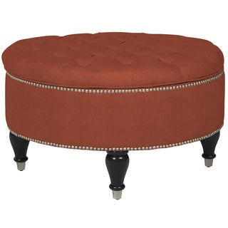 angelo:HOME Dawson California Vintage Orange Linen Round Storage Ottoman