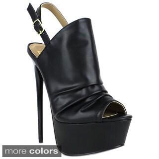 Fahrenheit Women's 'Vicky-21' Peep-toe Slingback Heels