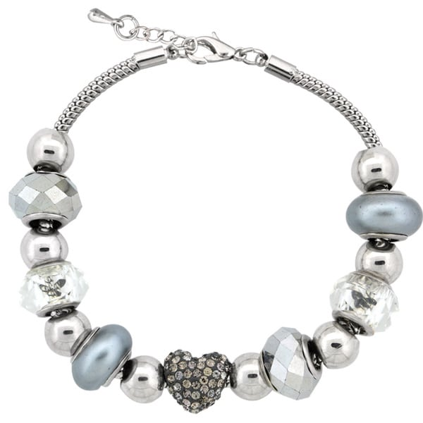 Glitzy Rocks Silvertone Crystal and Glass Bead Bracelet 14506637