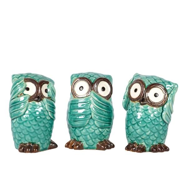 (Set of 3) Cyan Ceramic Owl No Evil
