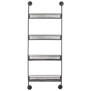 Grey Metal Wall Shelf with 4 Tiers