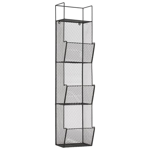 Black Metal Wall Rack with Mesh Sides and 3 Bins