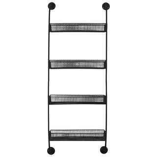 Black Metal Wall Shelf with 4 Tiers