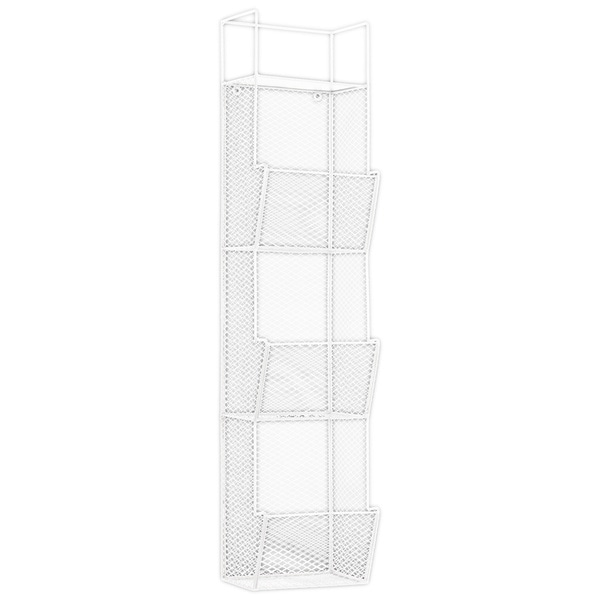Metal Wall Rack with Mesh Sides and 3 Bins White