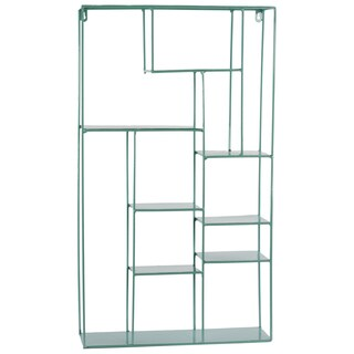 Light Blue Metal Wall Rack with 11 Shelves