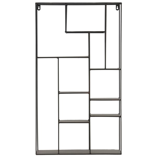 Black Metal Wall Rack with 11 Shelves