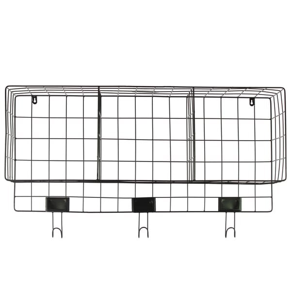 Black Metal Wall Basket with 3 Slots and 3 Hooks