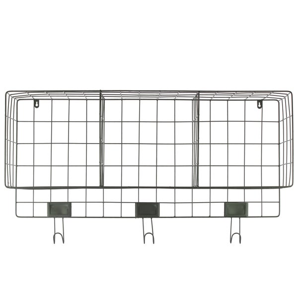 Grey Metal Wall Basket with 3 Slots and 3 Hooks