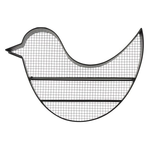 Black Metal Bird Wall Shelf