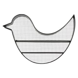 Black Metal Bird Wall Shelf