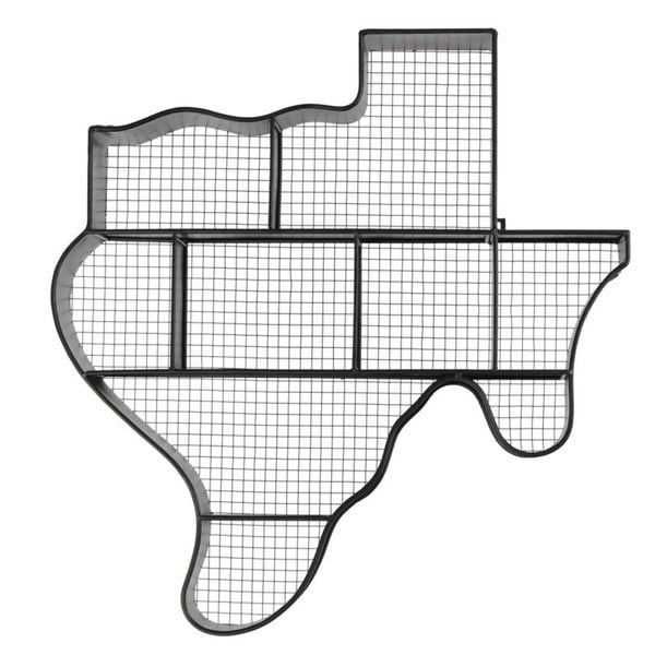 Black Metal Texas Map Wall Shelf