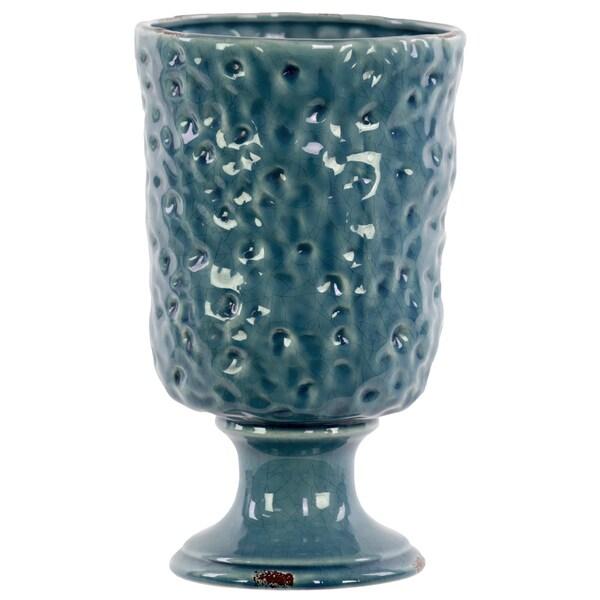 Large Hammered Design Gloss Turquoise Ceramic Vase