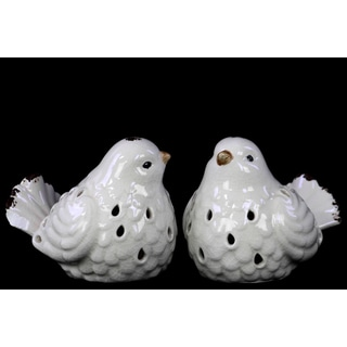 Distressed Gloss White Porcelain Bird (Set of 2)