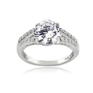 ICZ Stonez Sterling Silver 3 3/4ct TGW 100-facet Cubic Zirconia Solitaire Ring
