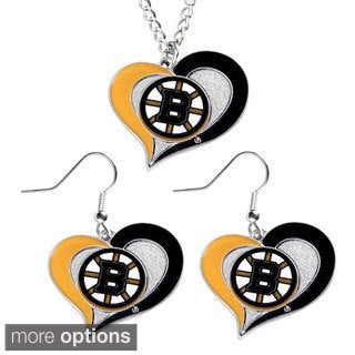 NHL Swirl Heart Necklace and Earring Jewelry Set