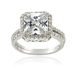 ICZ Stonez Sterling Silver 6ct TGW Square Cubic Zirconia Bridal Ring Set
