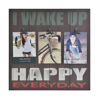 Melannco 'Wake Up Happy' Distressed Brown 3-opening Clip Collage