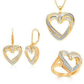 Gold Over Brass 1/10ct TDW Diamond Heart Pendant 3-piece Set