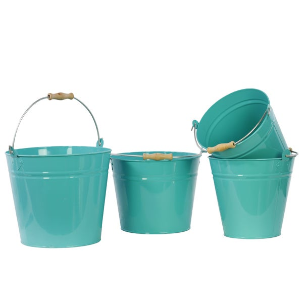Blue Metal Bucket With Wood Handle, Set of Four