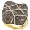 Suzy Levian Gold Over Sterling Silver Chocolate Cubic Zirconia Wrapped Pave Cushion Anniversary Ring
