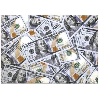 "Siesta Collection 100 Dollar Bill Design Area Rug (5'0"" x 6'6"")"