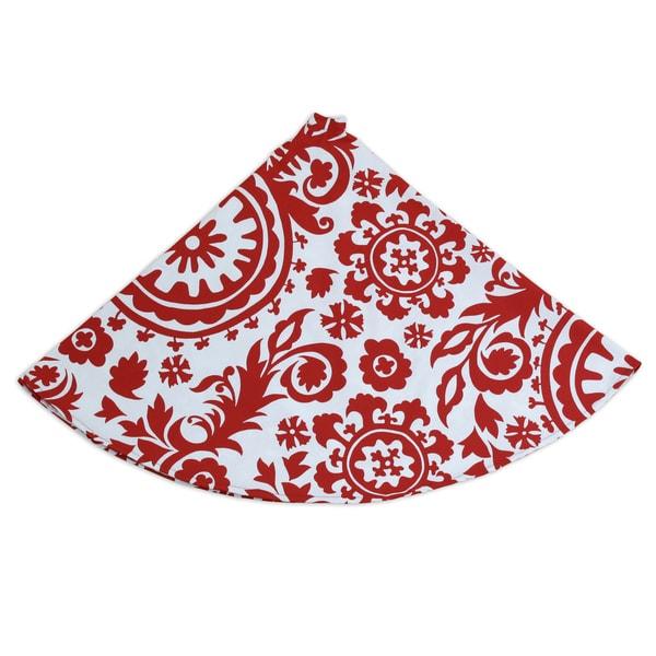 Suzani Lipstick 53-inch Round, Hemmed Tree Skirt