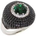 Suzy Levian Sterling Silver Emerald/ White/ Black Cubic Zirconia Gemstones Anniversary Ring