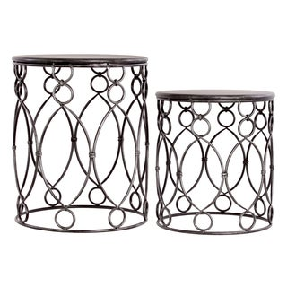 Distressed Silver Metal Tables, Set of Two