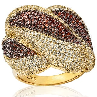 Suzy Levian Goldtone Sterling Silver Strawberry/ White Cubic Zirconia Gemstone Anniversary Ring