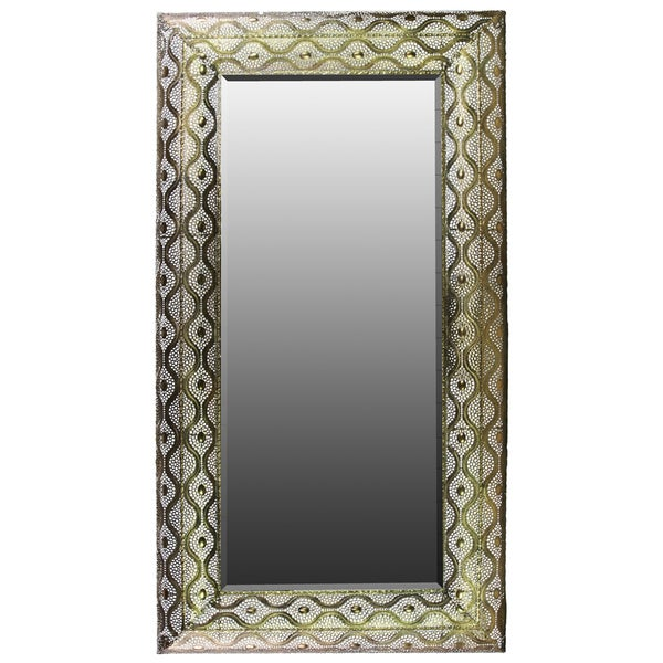 Large Pierced Gold Metal Rectangular Wall Mirror