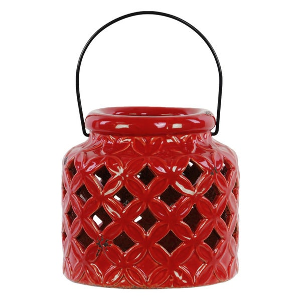 Gloss Red Ceramic Lantern with Metal Handle