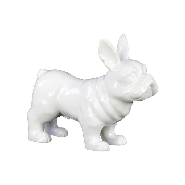 Gloss White Ceramic Standing French Bulldog