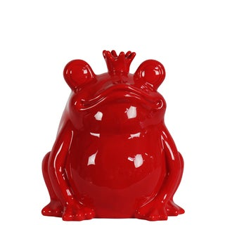 Red Ceramic Frog with A Crown